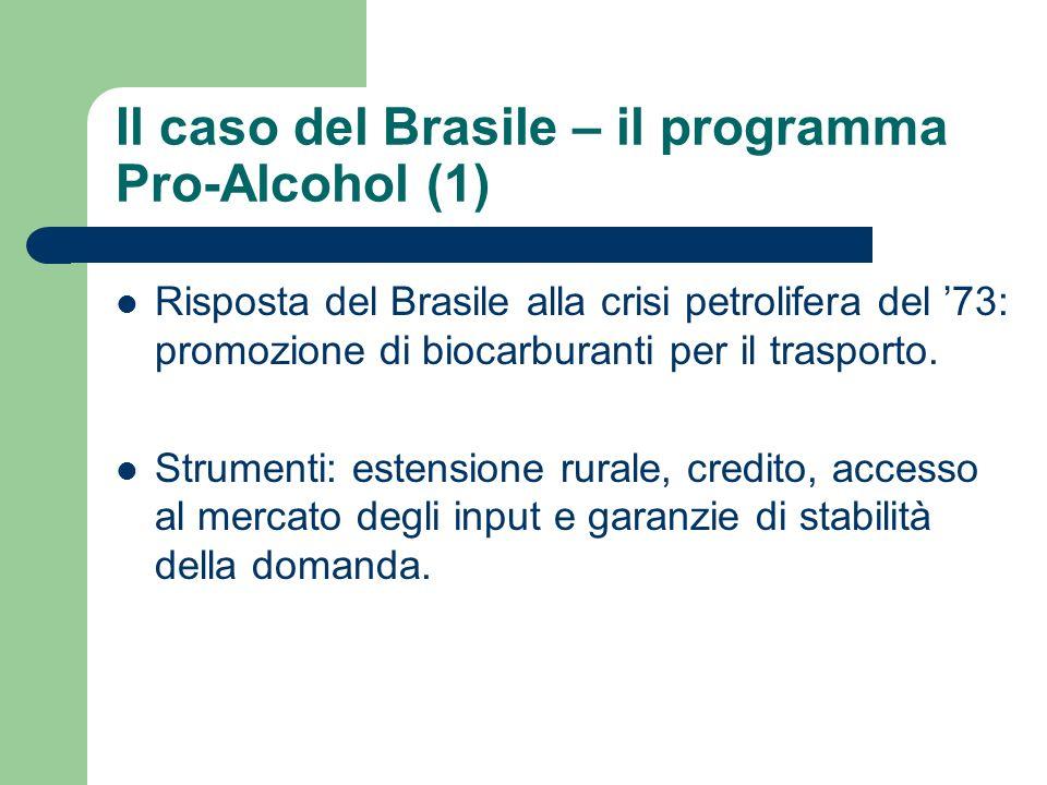 Il caso del Brasile – il programma Pro-Alcohol (1) Risposta del Brasile alla crisi petrolifera del 73: promozione di biocarburanti per il trasporto.