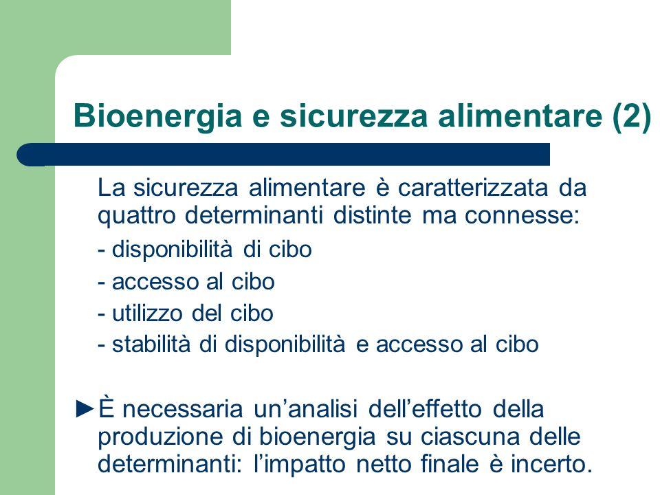 Bioenergia e sicurezza alimentare (2) La sicurezza alimentare è caratterizzata da quattro determinanti distinte ma connesse: - disponibilità di cibo - accesso al cibo - utilizzo del cibo - stabilità di disponibilità e accesso al cibo È necessaria unanalisi delleffetto della produzione di bioenergia su ciascuna delle determinanti: limpatto netto finale è incerto.