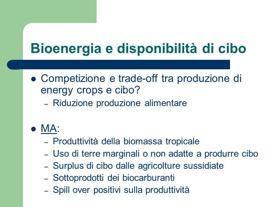 Bioenergia e disponibilità di cibo Competizione e trade-off tra produzione di energy crops e cibo.