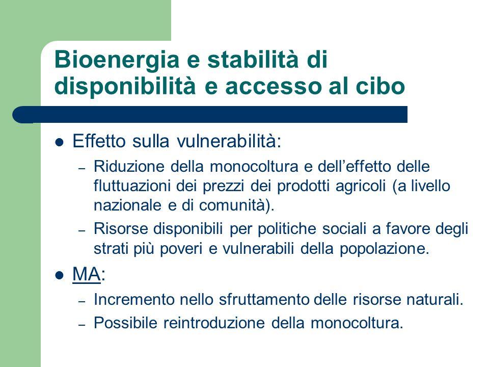 Bioenergia e stabilità di disponibilità e accesso al cibo Effetto sulla vulnerabilità: – Riduzione della monocoltura e delleffetto delle fluttuazioni dei prezzi dei prodotti agricoli (a livello nazionale e di comunità).