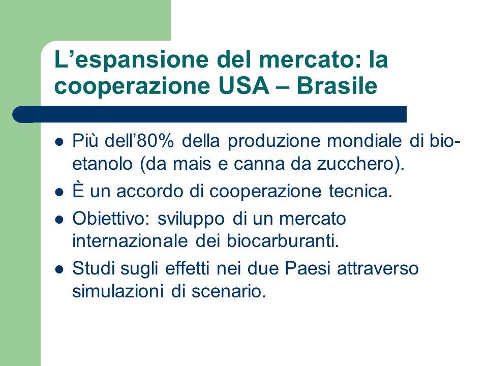 Lespansione del mercato: la cooperazione USA – Brasile Più dell80% della produzione mondiale di bio- etanolo (da mais e canna da zucchero).
