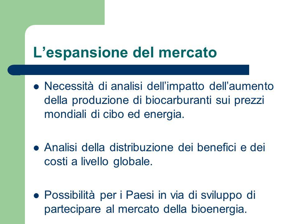 Lespansione del mercato Necessità di analisi dellimpatto dellaumento della produzione di biocarburanti sui prezzi mondiali di cibo ed energia.
