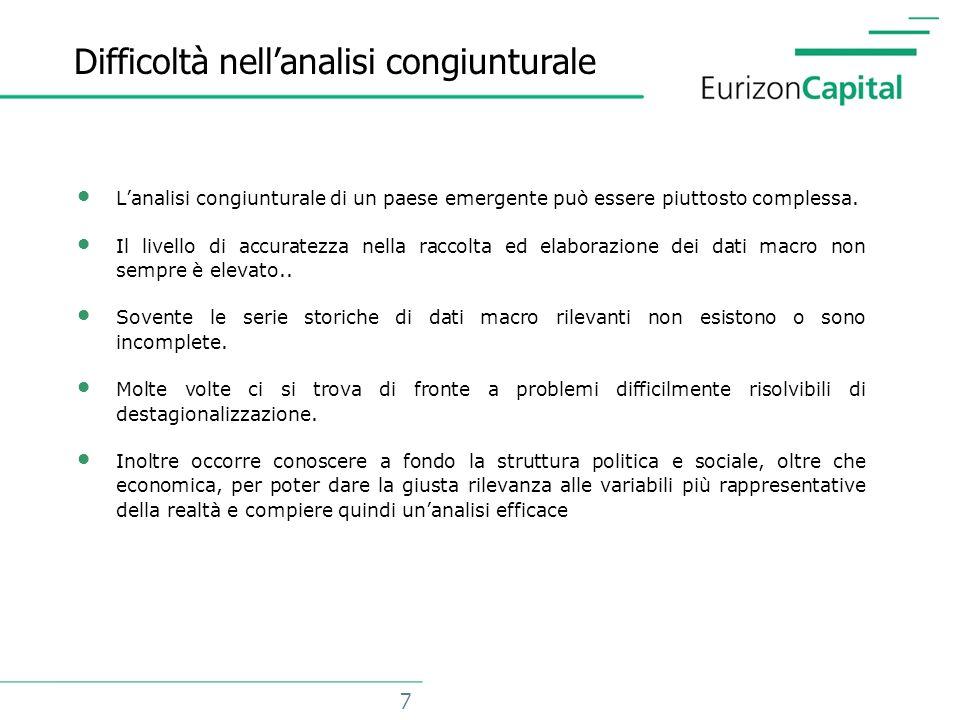 7 Difficoltà nellanalisi congiunturale Lanalisi congiunturale di un paese emergente può essere piuttosto complessa.