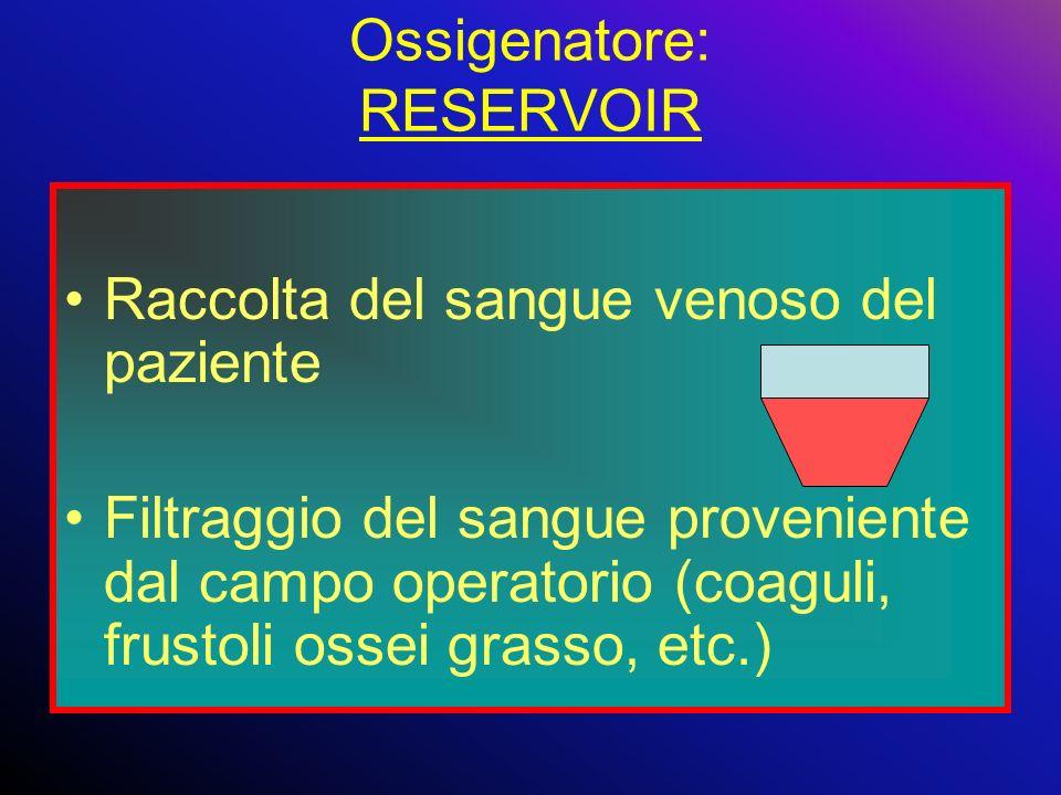Ossigenatore: RESERVOIR Raccolta del sangue venoso del paziente Filtraggio del sangue proveniente dal campo operatorio (coaguli, frustoli ossei grasso