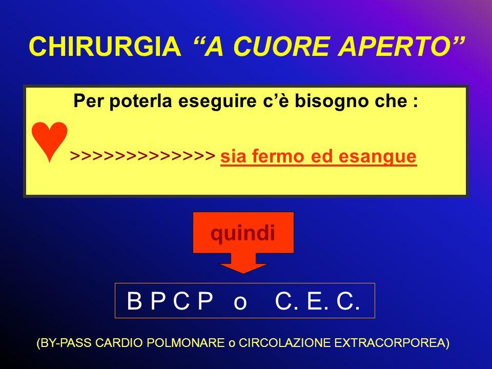 CHIRURGIA A CUORE APERTO Per poterla eseguire cè bisogno che : >>>>>>>>>>>>> sia fermo ed esangue quindi B P C P o C. E. C. (BY-PASS CARDIO POLMONARE