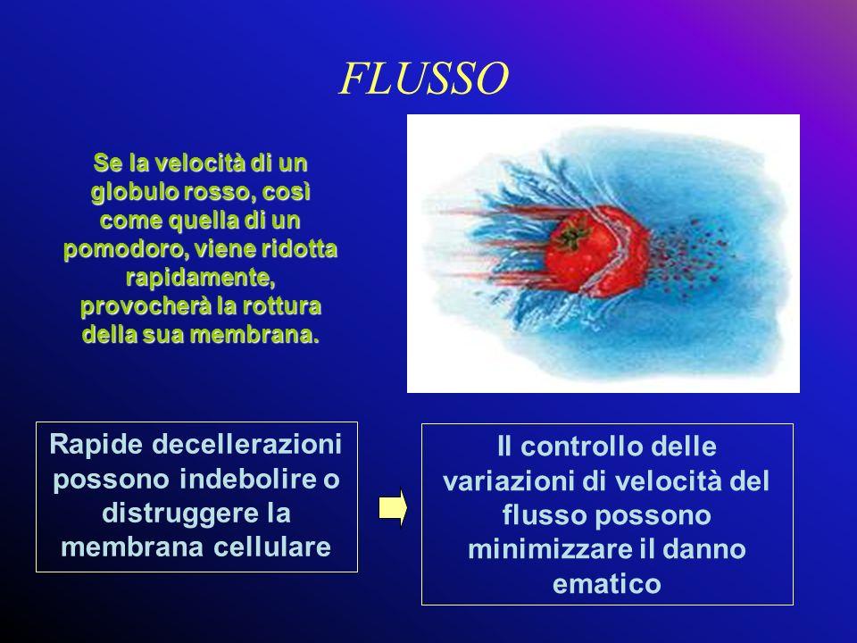 FLUSSO Rapide decellerazioni possono indebolire o distruggere la membrana cellulare Se la velocità di un globulo rosso, così come quella di un pomodor