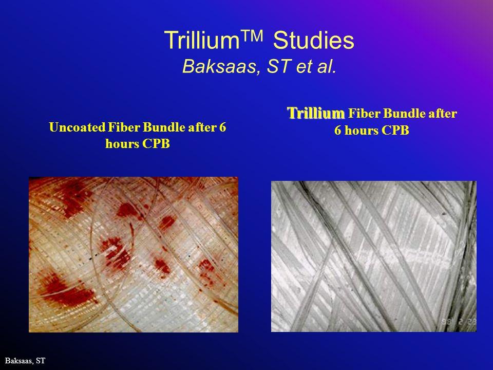 Uncoated Fiber Bundle after 6 hours CPB Baksaas, ST Trillium Trillium Fiber Bundle after 6 hours CPB Trillium TM Studies Baksaas, ST et al.