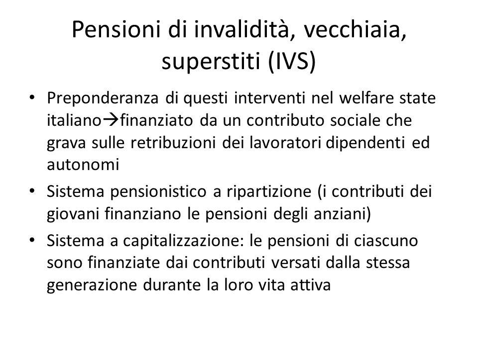 Pensioni di invalidità, vecchiaia, superstiti (IVS) Preponderanza di questi interventi nel welfare state italiano finanziato da un contributo sociale