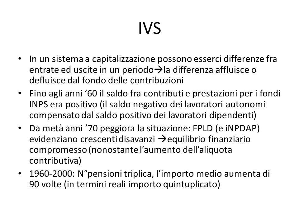 IVS In un sistema a capitalizzazione possono esserci differenze fra entrate ed uscite in un periodo la differenza affluisce o defluisce dal fondo dell