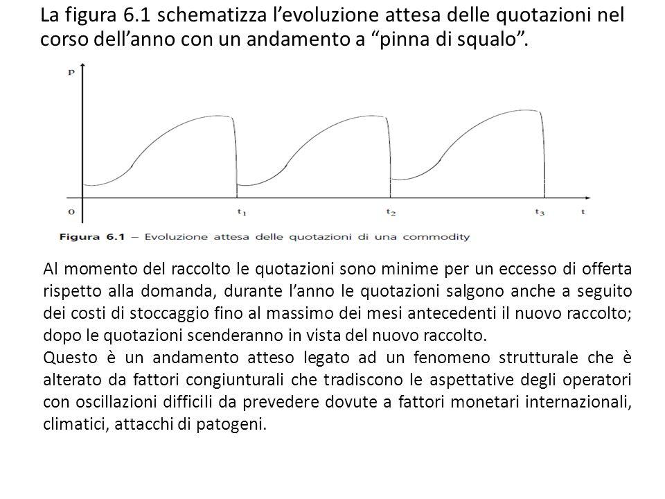 La figura 6.1 schematizza levoluzione attesa delle quotazioni nel corso dellanno con un andamento a pinna di squalo. Al momento del raccolto le quotaz