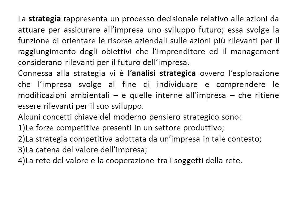 La strategia rappresenta un processo decisionale relativo alle azioni da attuare per assicurare allimpresa uno sviluppo futuro; essa svolge la funzion