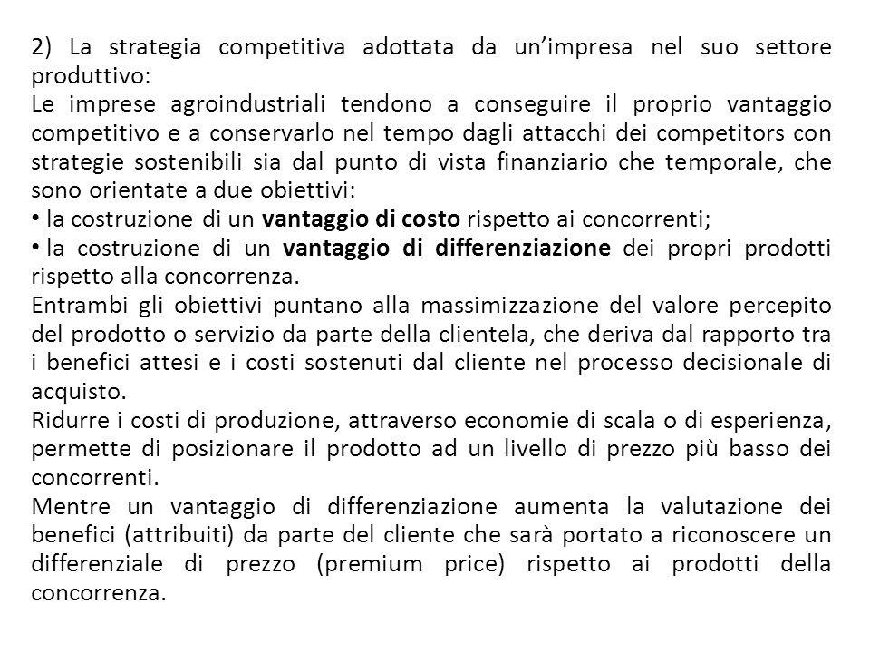 2) La strategia competitiva adottata da unimpresa nel suo settore produttivo: Le imprese agroindustriali tendono a conseguire il proprio vantaggio com