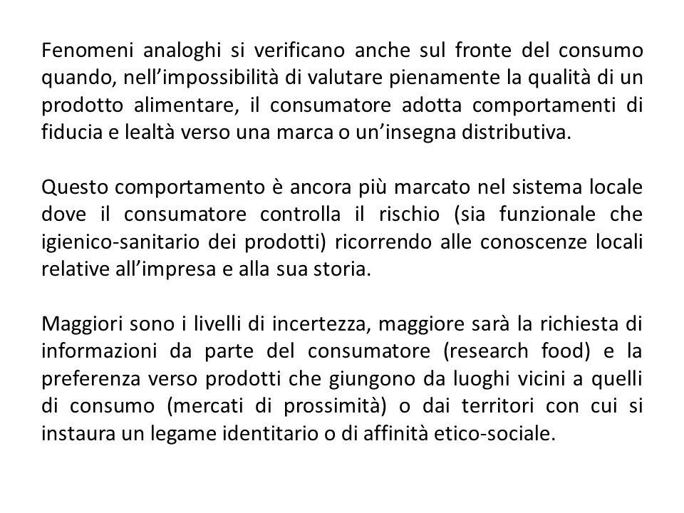 Fenomeni analoghi si verificano anche sul fronte del consumo quando, nellimpossibilità di valutare pienamente la qualità di un prodotto alimentare, il