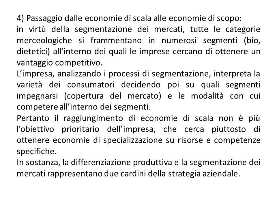 4) Passaggio dalle economie di scala alle economie di scopo: in virtù della segmentazione dei mercati, tutte le categorie merceologiche si frammentano