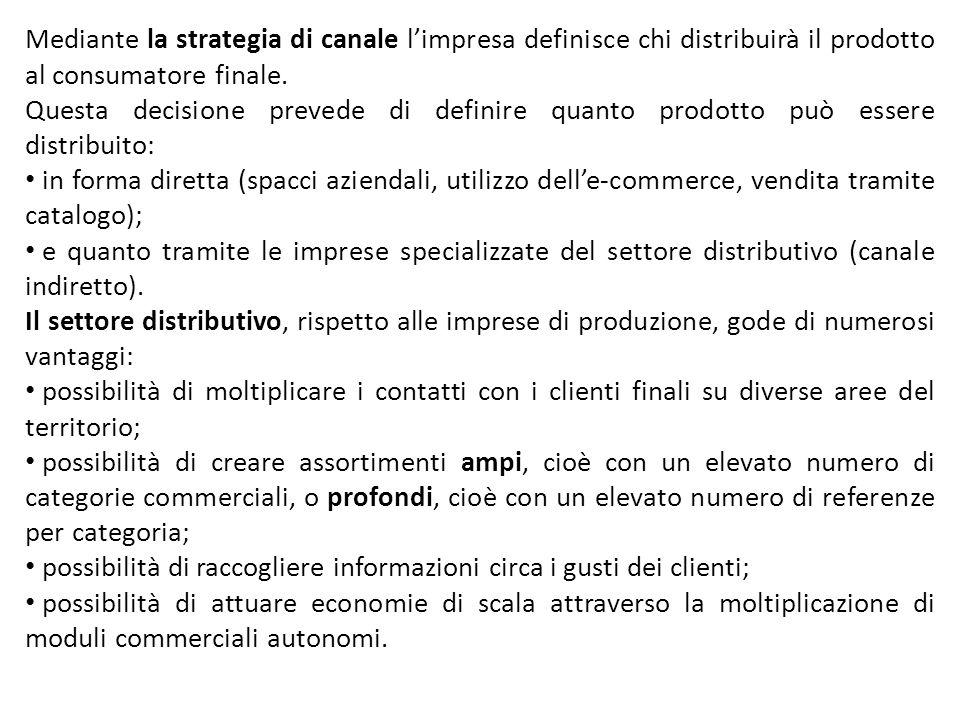 Mediante la strategia di canale limpresa definisce chi distribuirà il prodotto al consumatore finale. Questa decisione prevede di definire quanto prod