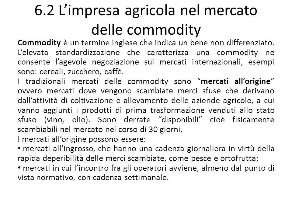6.2 Limpresa agricola nel mercato delle commodity Commodity è un termine inglese che indica un bene non differenziato. Lelevata standardizzazione che