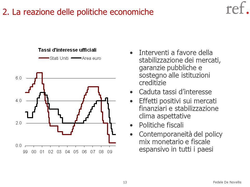 Fedele De Novellis 13 2. La reazione delle politiche economiche Interventi a favore della stabilizzazione dei mercati, garanzie pubbliche e sostegno a