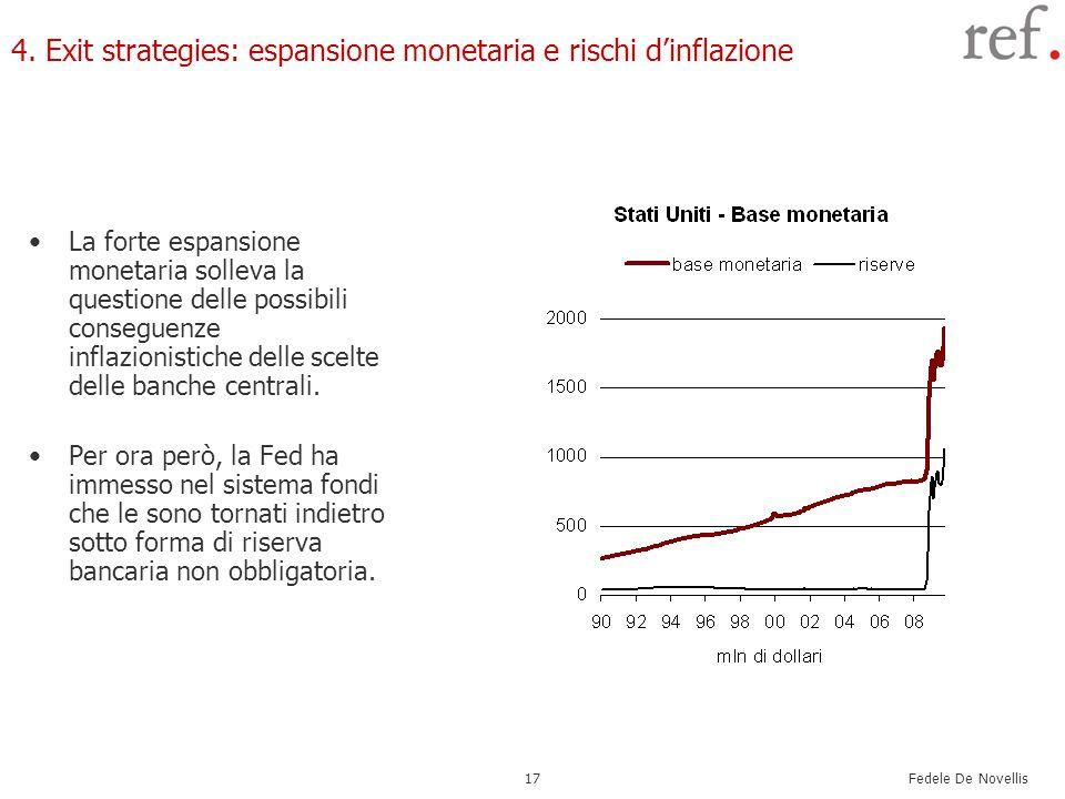 Fedele De Novellis 17 4. Exit strategies: espansione monetaria e rischi dinflazione La forte espansione monetaria solleva la questione delle possibili