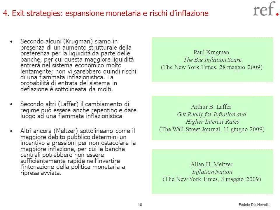 Fedele De Novellis 18 4. Exit strategies: espansione monetaria e rischi dinflazione Secondo alcuni (Krugman) siamo in presenza di un aumento struttura