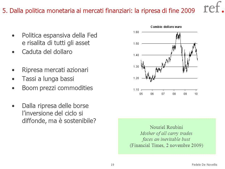 Fedele De Novellis 19 5. Dalla politica monetaria ai mercati finanziari: la ripresa di fine 2009 Politica espansiva della Fed e risalita di tutti gli