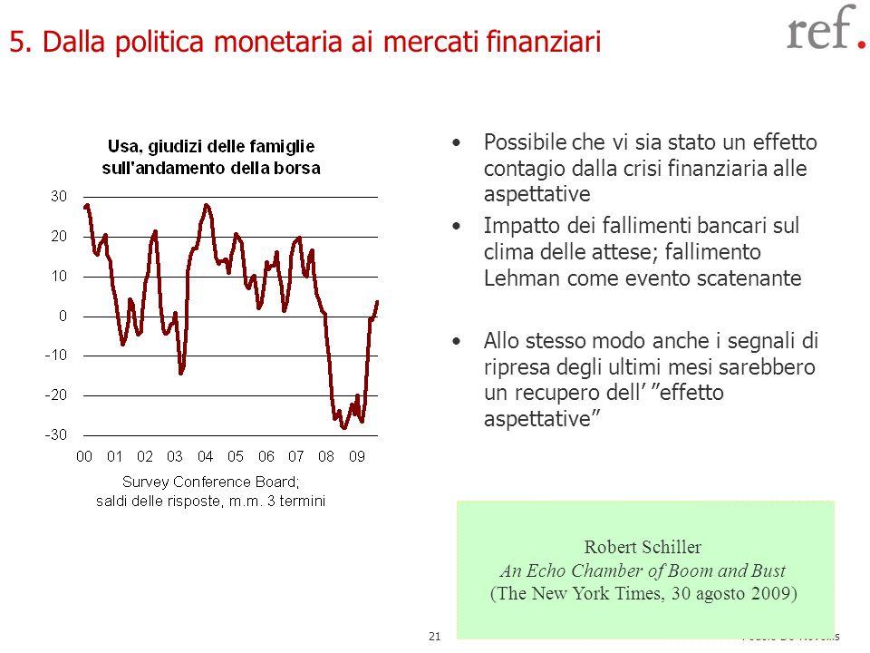 Fedele De Novellis 21 5. Dalla politica monetaria ai mercati finanziari Possibile che vi sia stato un effetto contagio dalla crisi finanziaria alle as