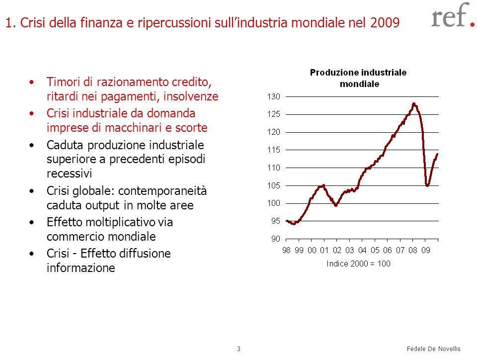 Fedele De Novellis 3 1. Crisi della finanza e ripercussioni sullindustria mondiale nel 2009 Timori di razionamento credito, ritardi nei pagamenti, ins