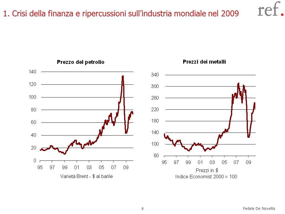 Fedele De Novellis 6 1. Crisi della finanza e ripercussioni sullindustria mondiale nel 2009