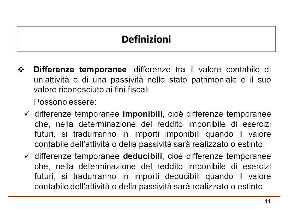 11 Differenze temporanee: differenze tra il valore contabile di unattività o di una passività nello stato patrimoniale e il suo valore riconosciuto ai fini fiscali.