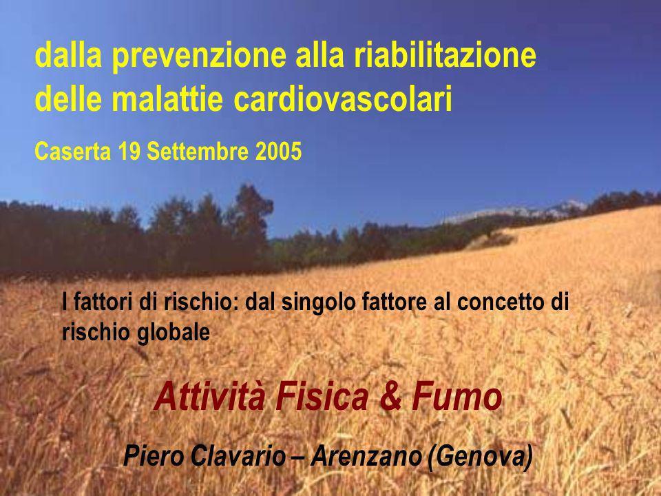 dalla prevenzione alla riabilitazione delle malattie cardiovascolari Caserta 19 Settembre 2005 I fattori di rischio: dal singolo fattore al concetto d