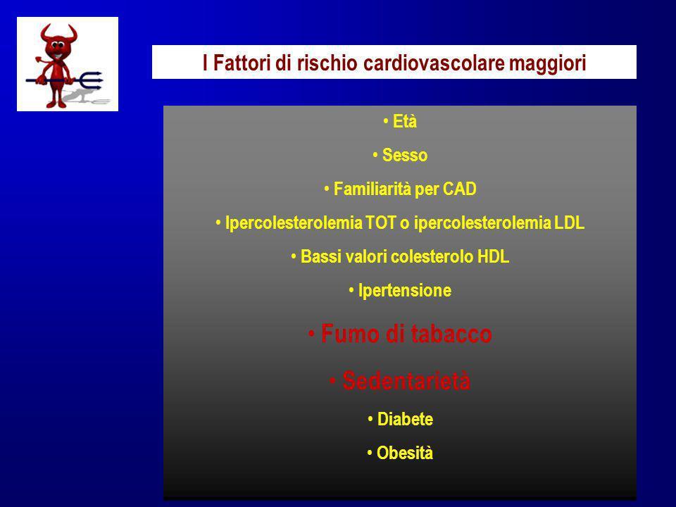 I Fattori di rischio cardiovascolare maggiori Età Sesso Familiarità per CAD Ipercolesterolemia TOT o ipercolesterolemia LDL Bassi valori colesterolo H
