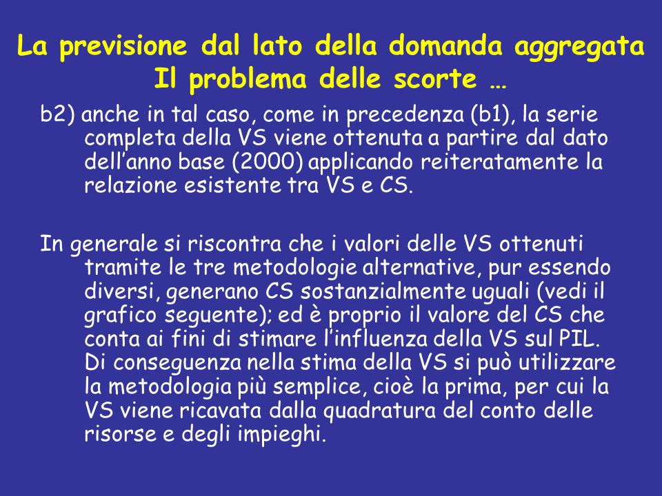 La previsione dal lato della domanda aggregata Il problema delle scorte … b2) anche in tal caso, come in precedenza (b1), la serie completa della VS v