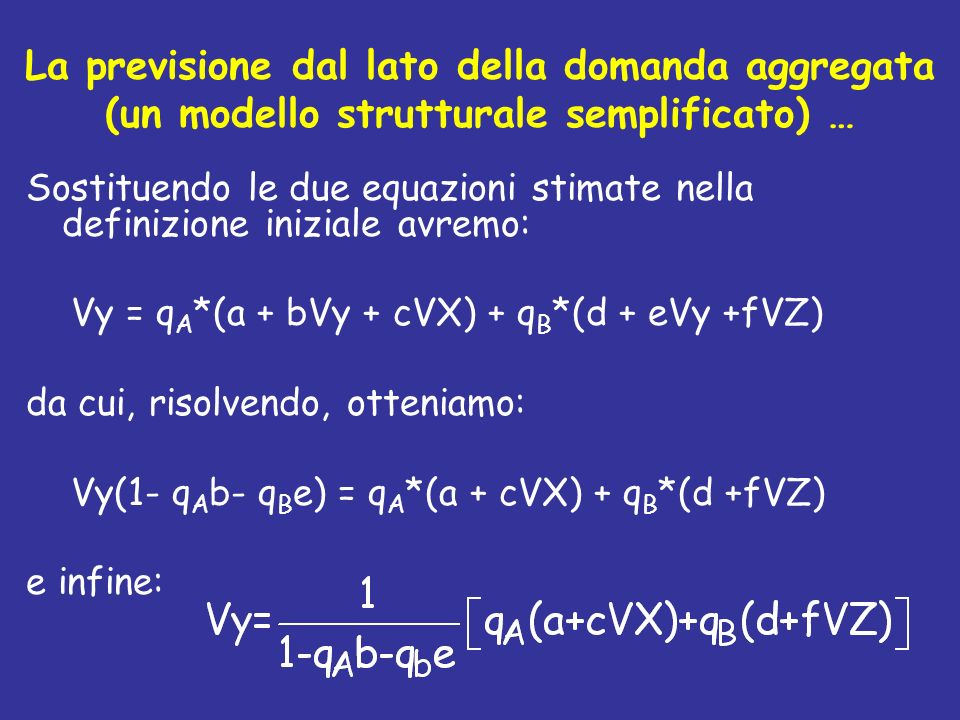 La previsione dal lato della domanda aggregata (un modello strutturale semplificato) … Sostituendo le due equazioni stimate nella definizione iniziale
