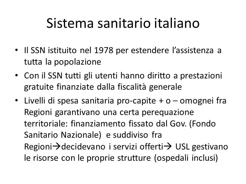 Sistema sanitario italiano Il SSN istituito nel 1978 per estendere lassistenza a tutta la popolazione Con il SSN tutti gli utenti hanno diritto a pres