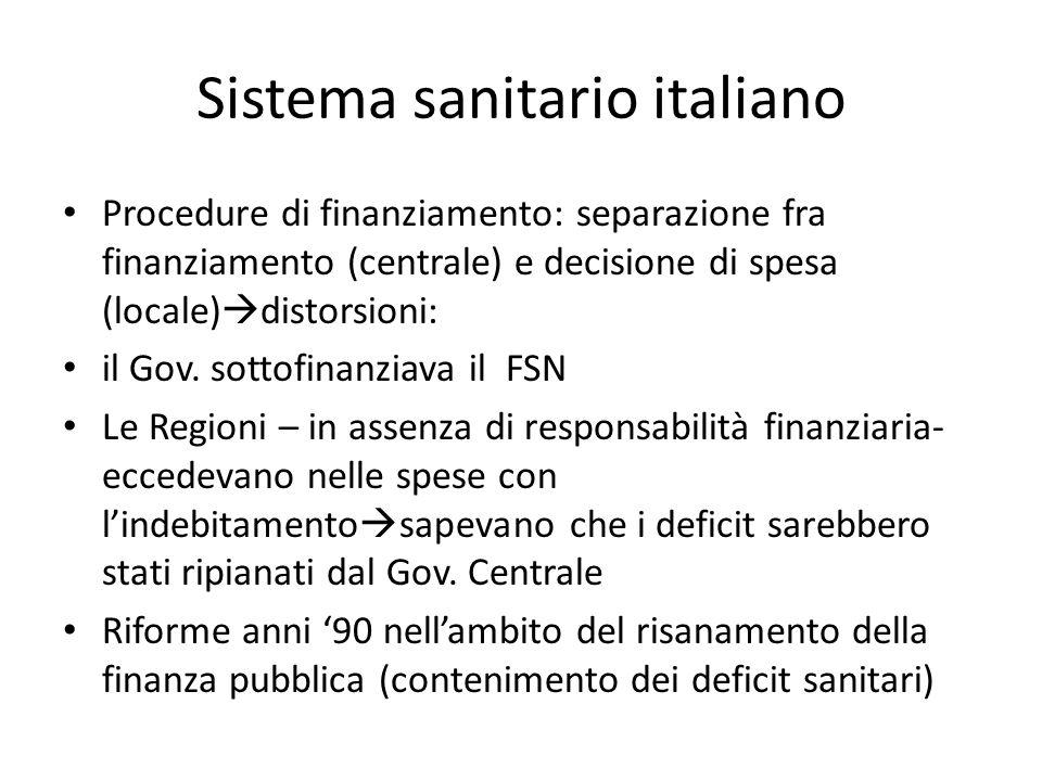 Sistema sanitario italiano Procedure di finanziamento: separazione fra finanziamento (centrale) e decisione di spesa (locale) distorsioni: il Gov. sot