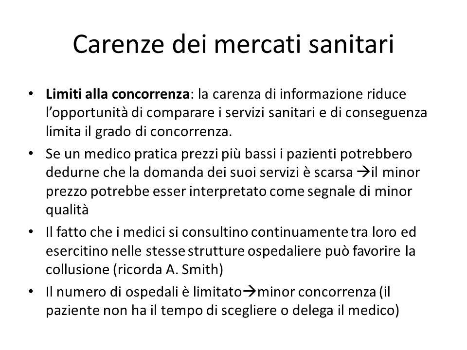 Carenze dei mercati sanitari Limiti alla concorrenza: la carenza di informazione riduce lopportunità di comparare i servizi sanitari e di conseguenza