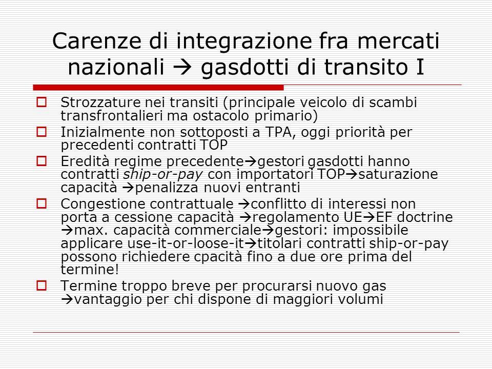 Carenze di integrazione fra mercati nazionali gasdotti di transito I Strozzature nei transiti (principale veicolo di scambi transfrontalieri ma ostaco