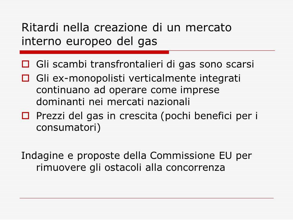 Ritardi nella creazione di un mercato interno europeo del gas Gli scambi transfrontalieri di gas sono scarsi Gli ex-monopolisti verticalmente integrat