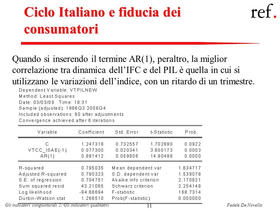 Fedele De NovellisGli indicatori congiunturali 2: Gli indicatori qualitativi 11 Ciclo Italiano e fiducia dei consumatori Quando si inserendo il termin