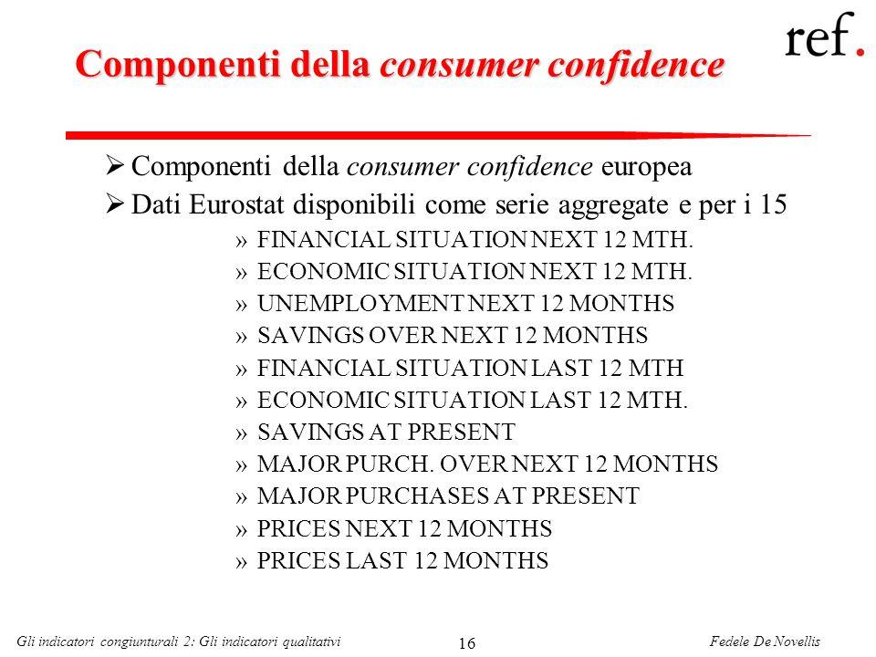 Fedele De NovellisGli indicatori congiunturali 2: Gli indicatori qualitativi 16 Componenti della consumer confidence Componenti della consumer confide