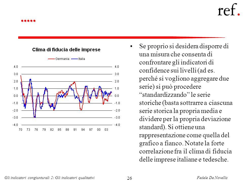 Fedele De NovellisGli indicatori congiunturali 2: Gli indicatori qualitativi 26..... Se proprio si desidera disporre di una misura che consenta di con