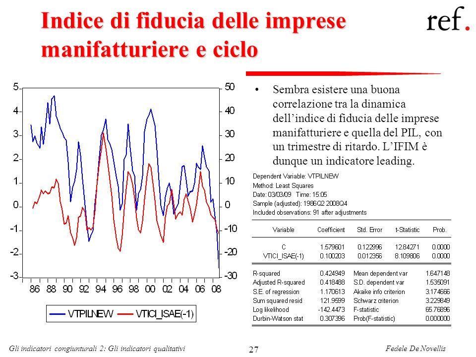 Fedele De NovellisGli indicatori congiunturali 2: Gli indicatori qualitativi 27 Indice di fiducia delle imprese manifatturiere e ciclo Sembra esistere