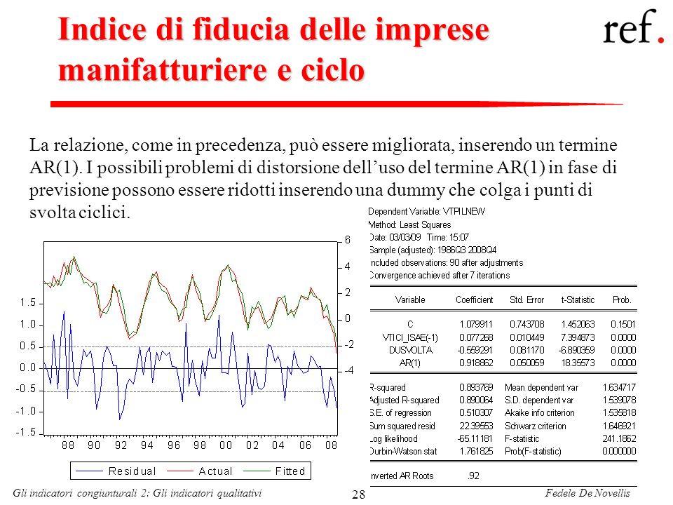 Fedele De NovellisGli indicatori congiunturali 2: Gli indicatori qualitativi 28 Indice di fiducia delle imprese manifatturiere e ciclo La relazione, c