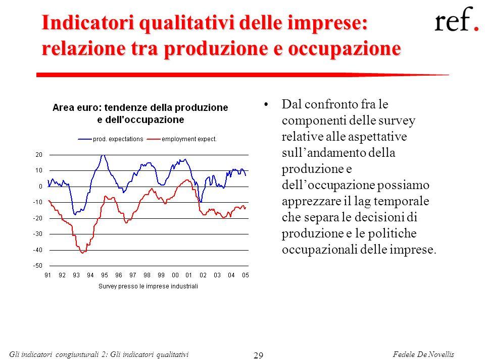 Fedele De NovellisGli indicatori congiunturali 2: Gli indicatori qualitativi 29 Indicatori qualitativi delle imprese: relazione tra produzione e occup
