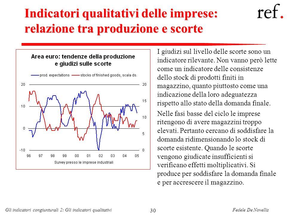 Fedele De NovellisGli indicatori congiunturali 2: Gli indicatori qualitativi 30 Indicatori qualitativi delle imprese: relazione tra produzione e scort