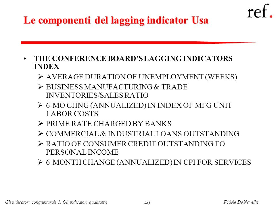 Fedele De NovellisGli indicatori congiunturali 2: Gli indicatori qualitativi 40 Le componenti del lagging indicator Usa THE CONFERENCE BOARD'S LAGGING