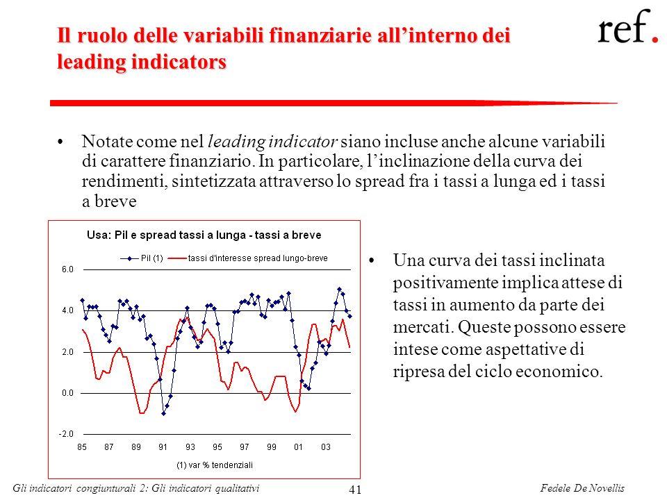 Fedele De NovellisGli indicatori congiunturali 2: Gli indicatori qualitativi 41 Il ruolo delle variabili finanziarie allinterno dei leading indicators