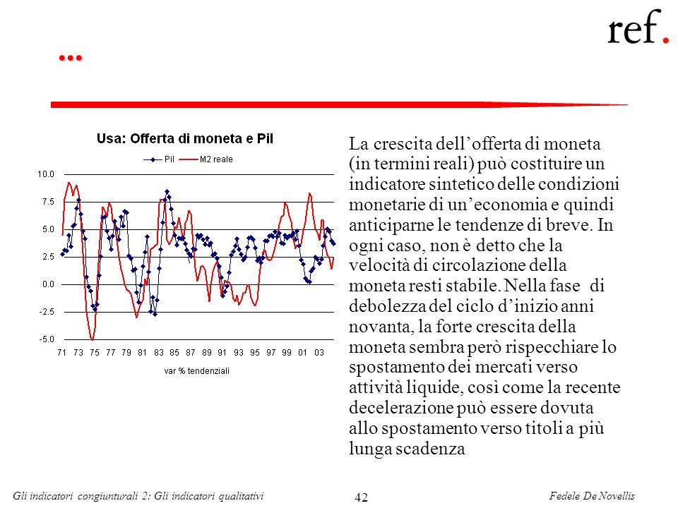 Fedele De NovellisGli indicatori congiunturali 2: Gli indicatori qualitativi 42... La crescita dellofferta di moneta (in termini reali) può costituire