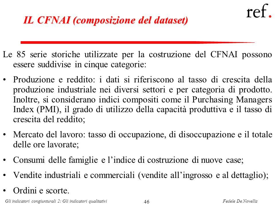 Fedele De NovellisGli indicatori congiunturali 2: Gli indicatori qualitativi 46 IL CFNAI (composizione del dataset) Le 85 serie storiche utilizzate pe
