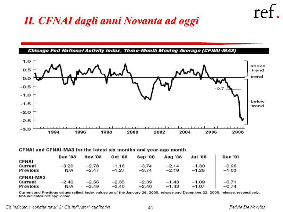 Fedele De NovellisGli indicatori congiunturali 2: Gli indicatori qualitativi 47 IL CFNAI dagli anni Novanta ad oggi