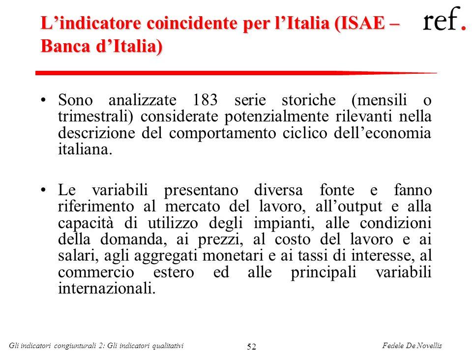 Fedele De NovellisGli indicatori congiunturali 2: Gli indicatori qualitativi 52 Lindicatore coincidente per lItalia (ISAE – Banca dItalia) Sono analiz